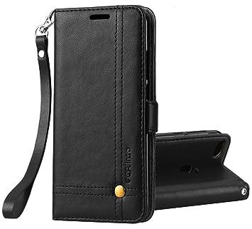 Ferilinso Funda para Xiaomi Redmi 6, Carcasa Cuero Retro Elegante con ID Tarjeta de Crédito Tragamonedas Soporte de Flip Cover Estuche de Cierre ...
