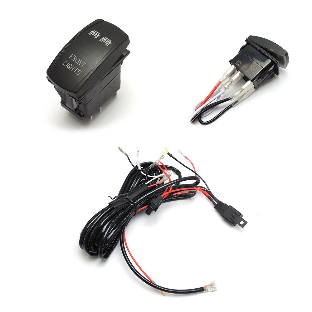 Amazon.com: LED Light Bar Laser Rocker Switch Relay Wiring Harness Kit for  Ranger and RZR 1000 Commander Maverick Kubota: Automotive
