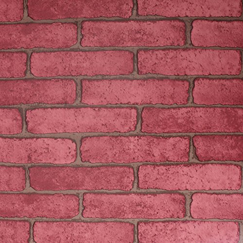 SICOHOME Brick Wallpaper,11 Yards Red removable Wallpaper