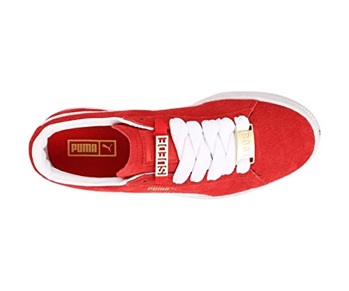 0336bbe77dcdac Puma Unisex s Suede Classic Bboy Fabulous Jr Red Leather Sneakers-4 Kids  UK India