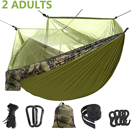 Hieha Double Camping Hammock with Mosquito Net Tree Hammocks, Portable Travel Hiking Camping Hammocks for 2 Adults