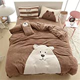 Cartoon Flannel Bedding Sets Winter - Thicken Design Cute Bear Duvet Cover Flat Sheet Full Coffee