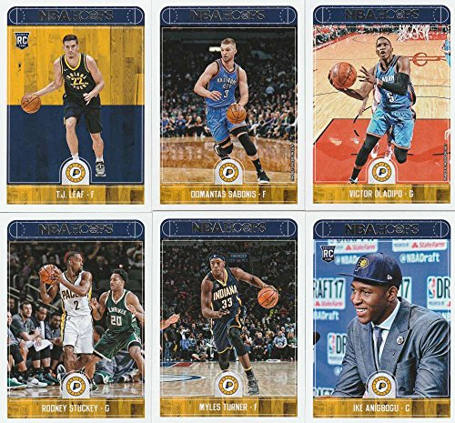 2017-18 Panini NBA Hoops Indiana Pacers Team Set of 10 Cards in a 4-Pocket Notebook: Darren Collison(#90), Lance Stephenson(#150), Myles Turner(#152), Ike Anigbogu(#153), Al Jefferson(#154), Thaddeus Young(#155), Rodney Stuckey(#157), Victor Oladipo(#210), Domantas Sabonis(#212), T.J. Leaf(#268)