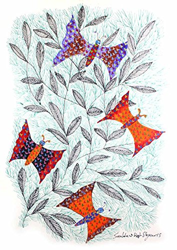 IMI Beautiful Multicolor Butterflies Gond Wall Hanging by Tribal Artist from MP(Size-10 Inch x 14 Inch x 0.7 Inch), Set of-1 (Shower Curtens)