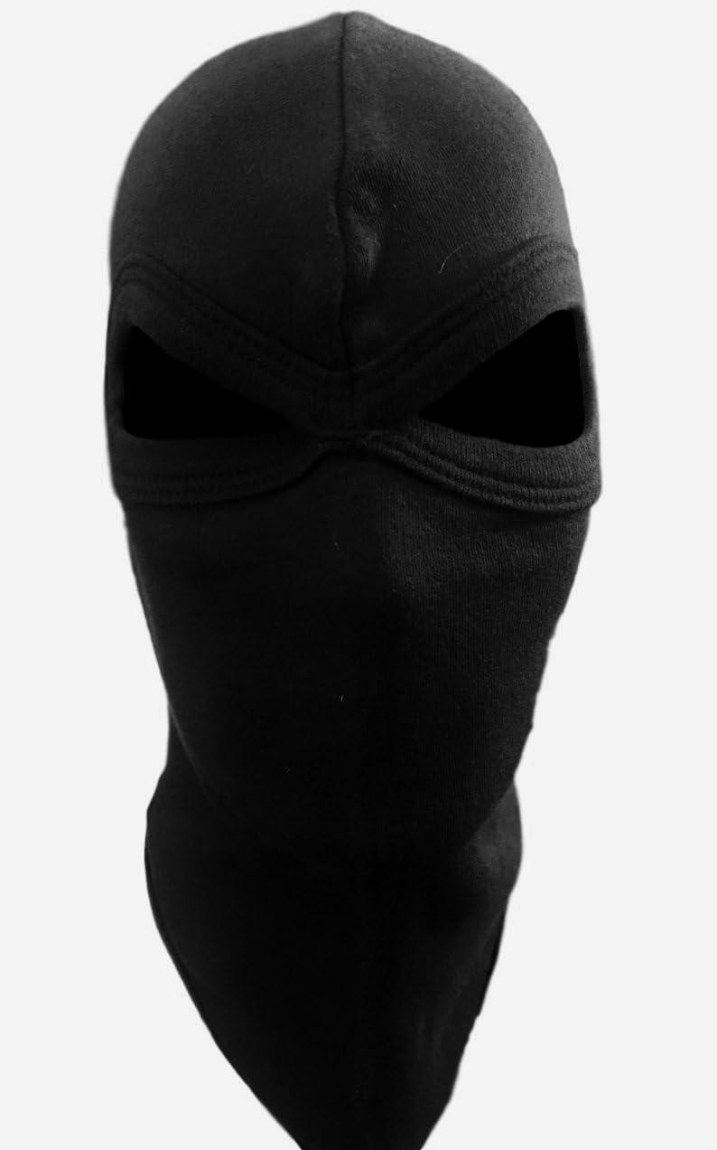 American Made Childs Solid Black 100% Cotton 2 Narrow Eyes Swat Balaclava Hood Full Face Ski Ninja Long Neck Mask For Hunters, Airsoft, ATV, Motorcycle Riders