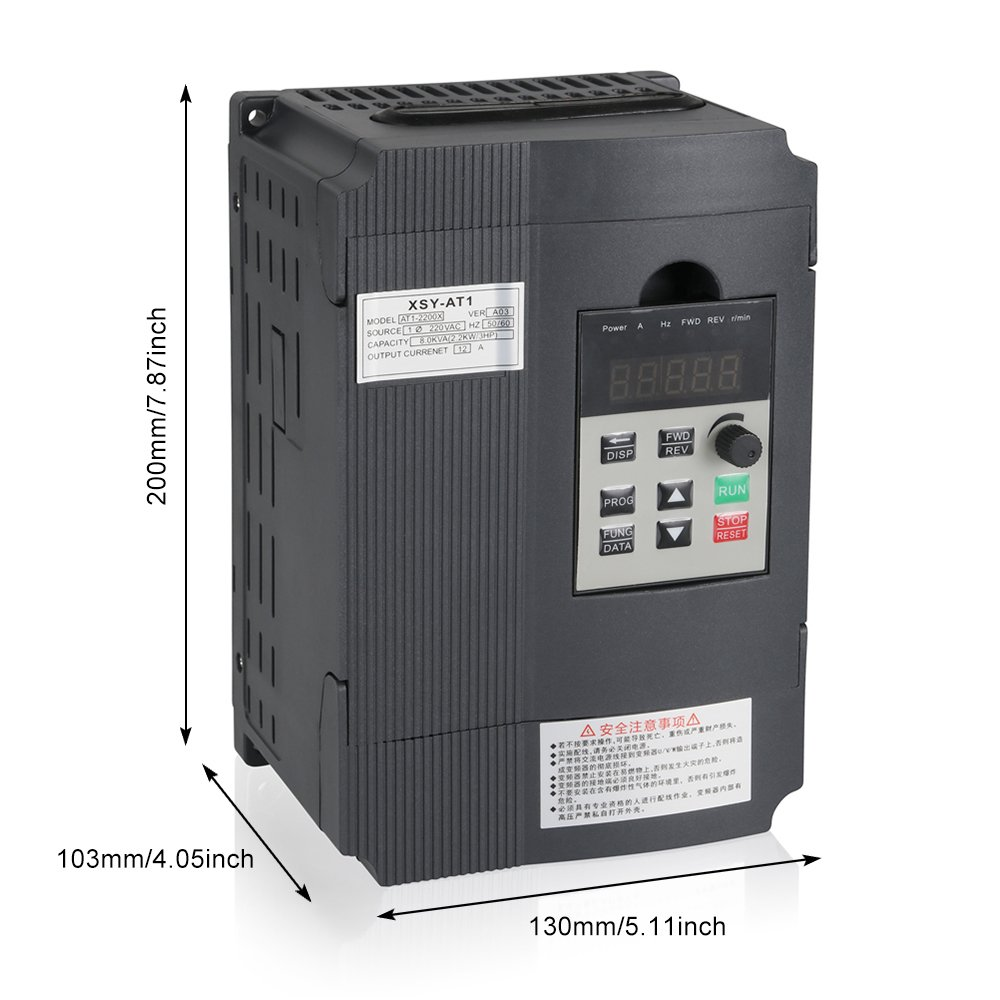 Mysweety VFD Inverter Frequency Converter 2.2KW 3HP 220V 12A for Spindle Motor Speed Control VFD-2.2KW /¡/