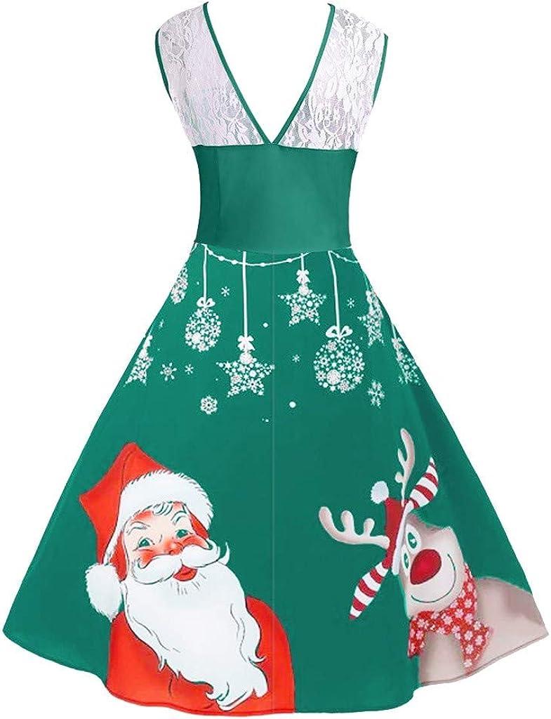 INLLADDY Weihnachten Kleider Damen Kurze /Ärmel Weihnachtskleid Xmas Print Party Jahrgang Christmas Swing Spitzenkleid Vintage Festlich Rockabilly Kleid Cocktailkleid Abendkleid
