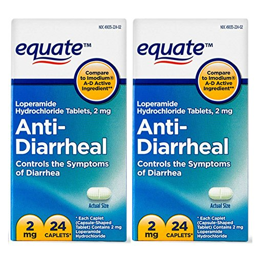 Equate - Anti-Diarrheal, Loperamide Hydrochloride (HCl) 24 Caplets (Compare to Imodium A-D) | 2 Pack - Total of 48 Caplets