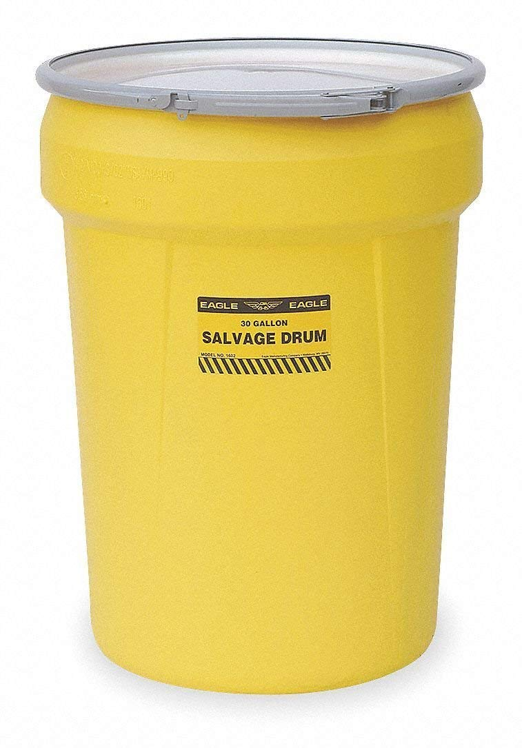 Eagle 1602 Salvage Drum with Metal Lever-Lock Ring, Yellow