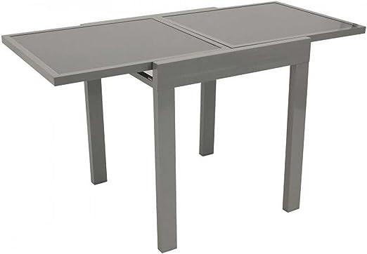 Balcón Mesa Extensible Amalfi 65/130 x 65 cm Aluminio + cristal balcón mesa mesa extensible: Amazon.es: Jardín