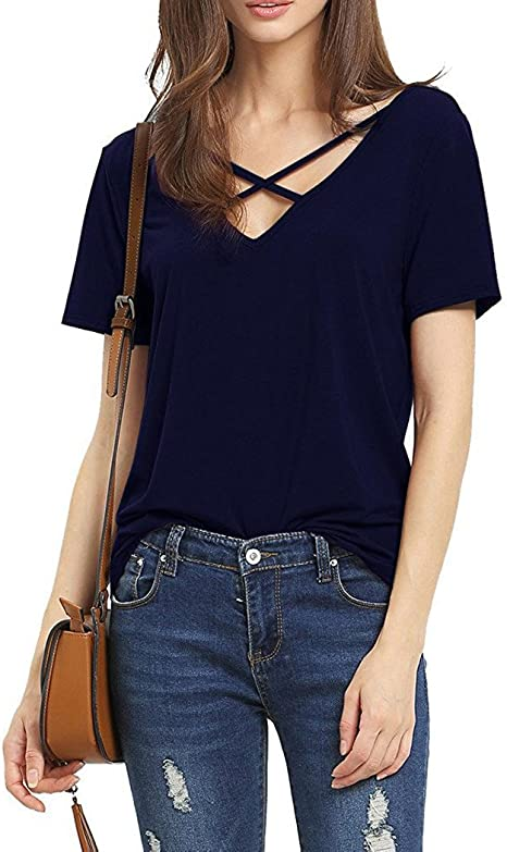 XL Top Bluse Shirt kurzarm T-Shirt mit Schnürung S