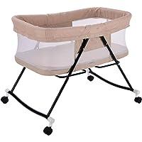 L-baby Berceau à Bascule pour bébé, Berceau portatif de Voyage pour lit de bébé, Berceau à Bascule, Base coulissante pour Dormir, à roulettes verrouillables et rétractables, 2-en-1