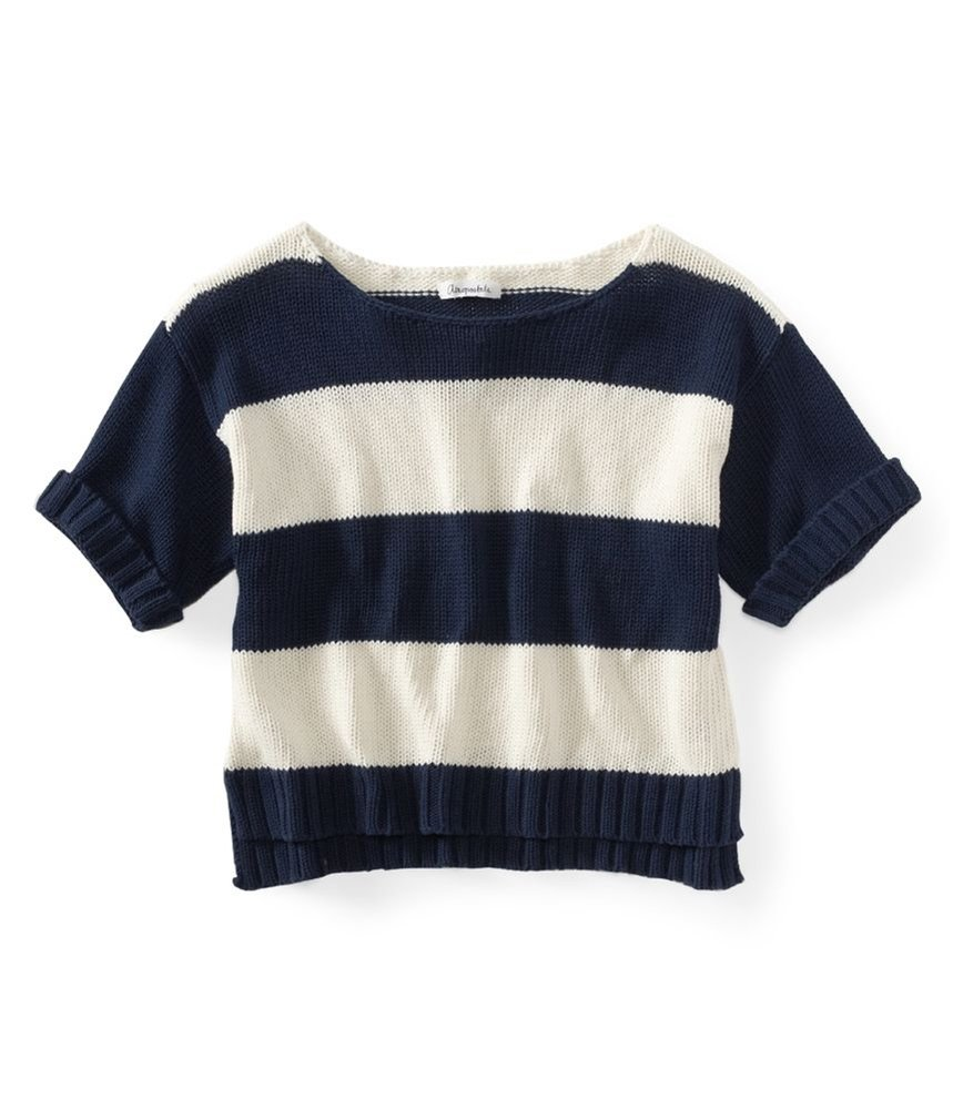Aeropostale Womens Stripe Wide-fit Cropped Knit Sweater Blue XS - Juniors