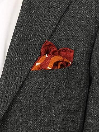 (ザ・スーツカンパニー) MADE IN ITALY/ドット&ハウンドトゥース柄 シルクポケットチーフ レッド×オレンジ×オフホワイト