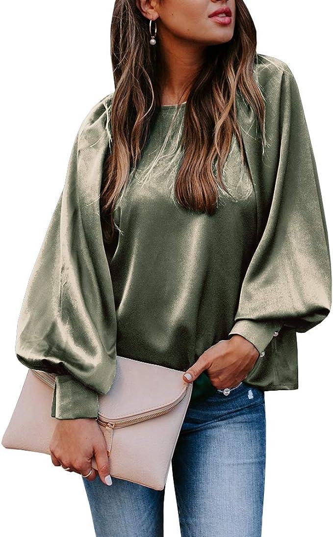 Women V Neck Lantern Sleeve Casual Shirt Tops Loose Oversize Ladies Tops Blouse