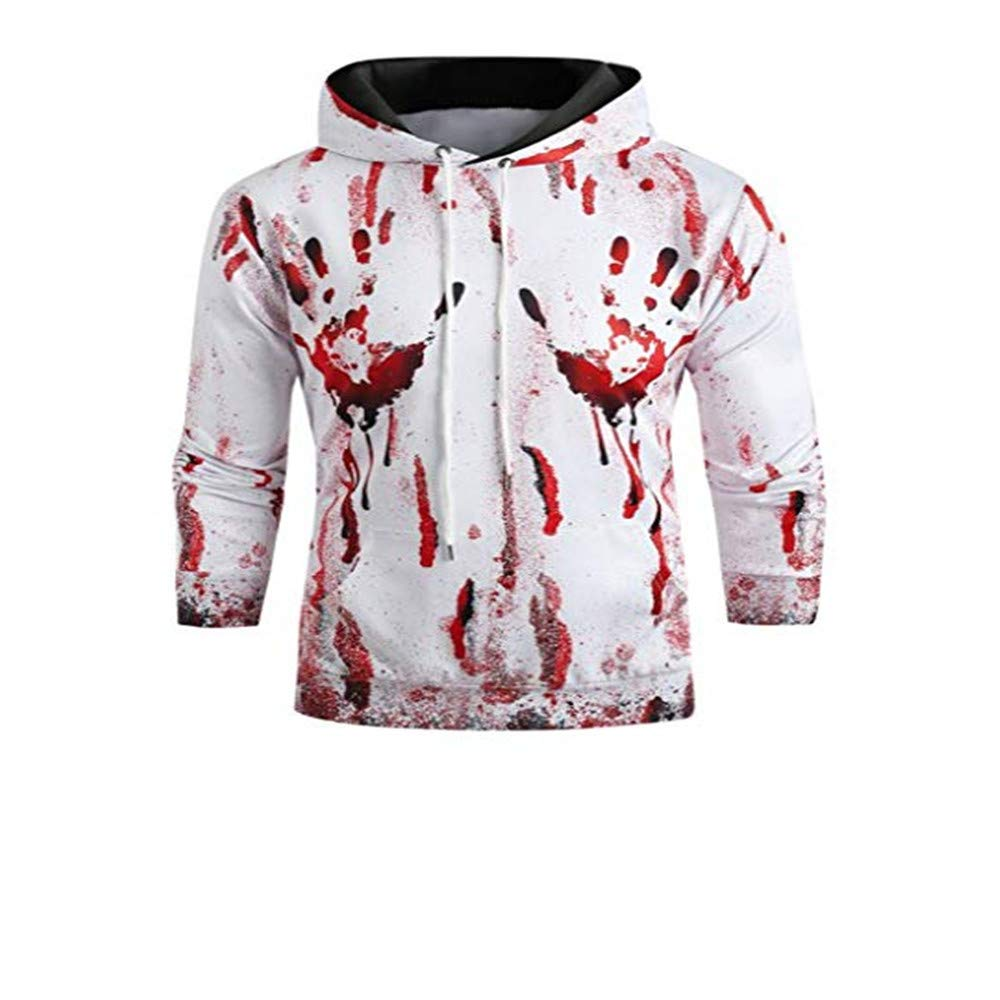 Hmlai Clearance Unisex Hoodies Pullover Long Sleeve Halloween Blood Print Sports Outwear Hooded Sweatshirts with Kanga Pocket (L, White) by Hmlai Clearance