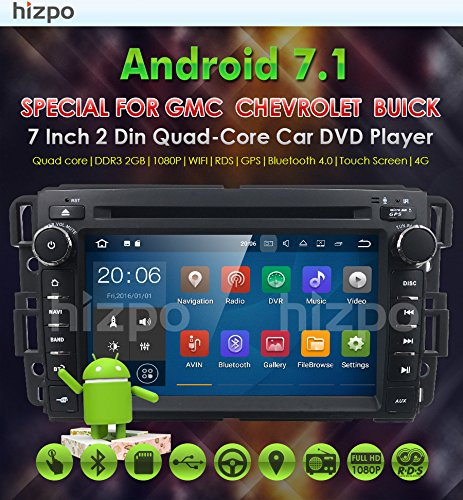 Android 7.1 Car Stereo DVD Player For GMC Chevy Silverado 1500 2012 GMC Sierra 2011 2010 7 inch Quad Core Double Din In Dash Touchscreen FM/AM Radio Receiver Navigation Bluetooth with Backup Camera by HIZPO (Image #2)