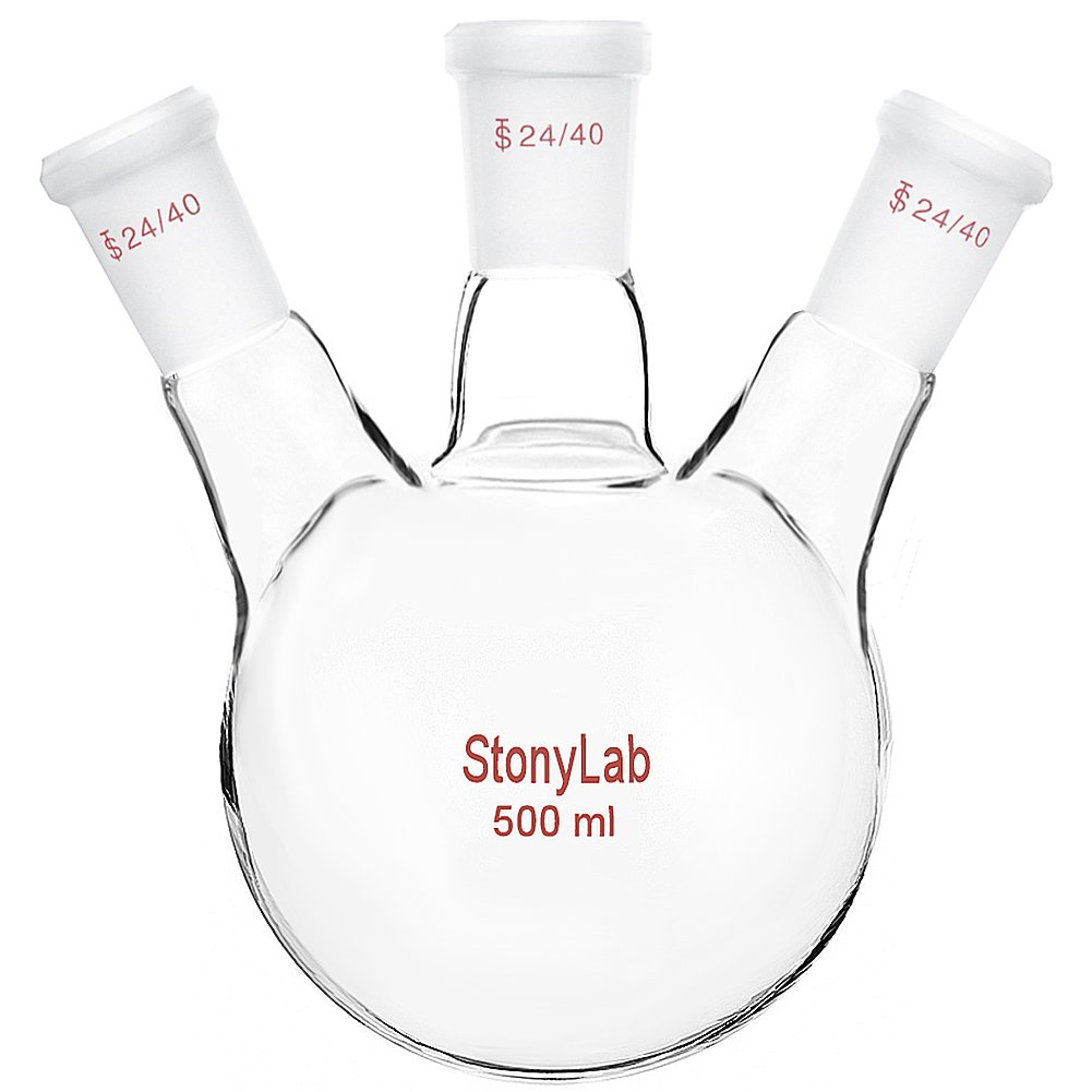 StonyLab Glass 500ml Heavy Wall 3 Neck Round Bottom Flask RBF, with 24/40 Center and Side Standard Taper Outer Joint – 500ml