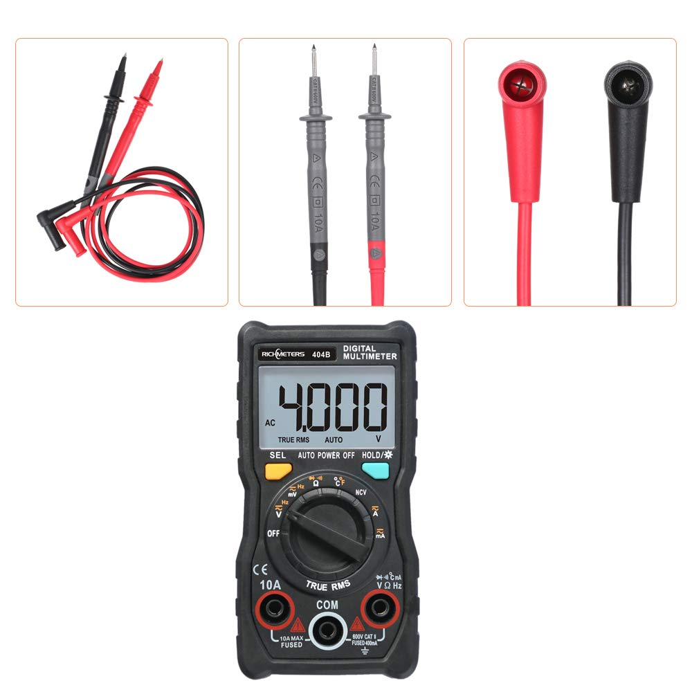 Multimeter, RICHMETERS Handheld Digital Multimeter RM404B Multifunction Mini Multi Meter AC/DC Voltage Transistor Tester Ammeter Temperature Sensor Test ...