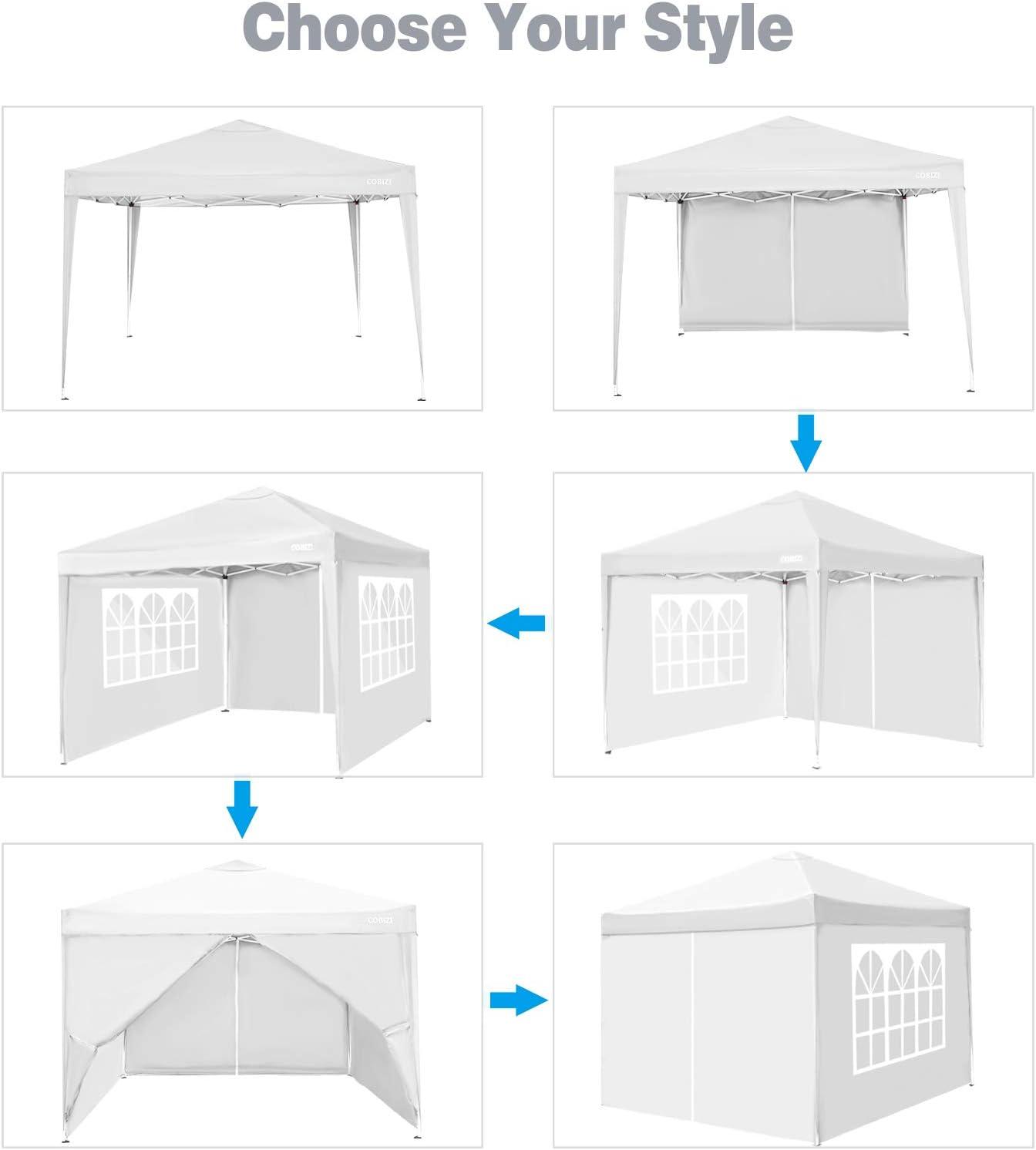 per Giardino Spiagge con 4 pareti Laterali e Gambe Regolabili e Finestra per Giardino Bianco Picnic COBIZI Gazebo da Giardino 3 x 3 m Gazebo Pieghevole Impermeabile Feste attivit/à allAperto