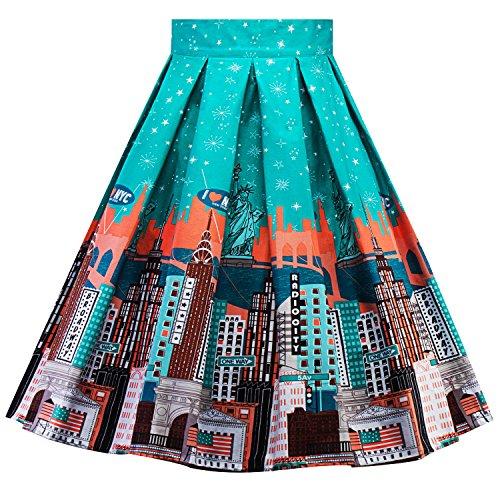 Womens High Waist Knee Length Pleated a Line Midi Skirts Dr06 (Blue, 2XL) (York New Skirt Pleated)