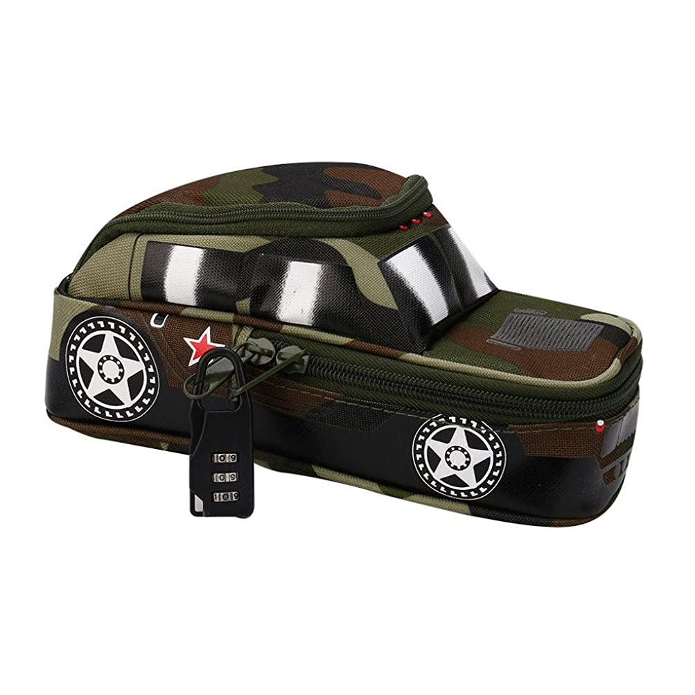 choosebuy Vehicle Pencil Case with Combination Lock for Boys Largeキュート学校鉛筆ボックス グリーン B07FVW1PZ1 Green.
