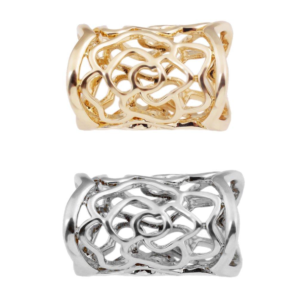 MonkeyJack 2pcs Vintage Rose Pattern Scarf Buckle Scarf Ring Clip Holder Scarf Jewelry
