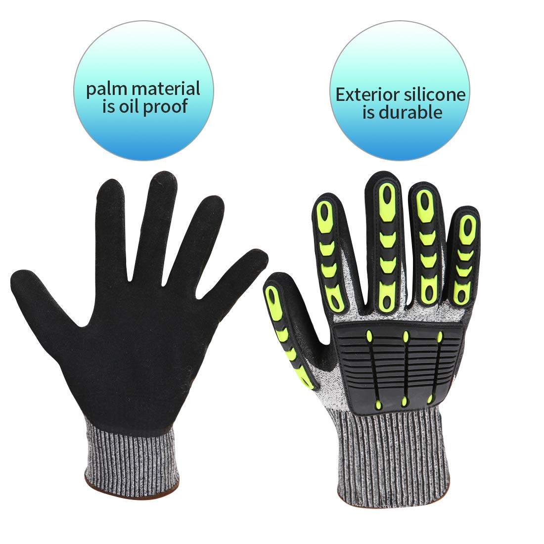 Impact Reducing Safety Gloves, Vibration & Abrasion & Cut Resistant, Ideal for Heavy Duty Safety Work like Mechanic, Garden Construction, Car Repairing Industrial, 1 Pair by KARRISM 3