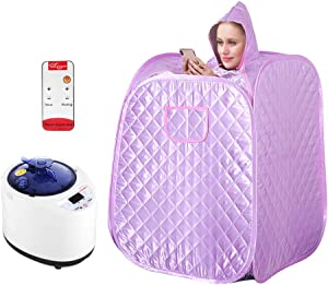 4YANG Portable Steam Sauna Spa for Home Use, Personal Therapeutic Sauna for Weight Loss, Single Sauna with Fumigation Machine,Foldable and Steamable Feet, Remote Control (US Stock)