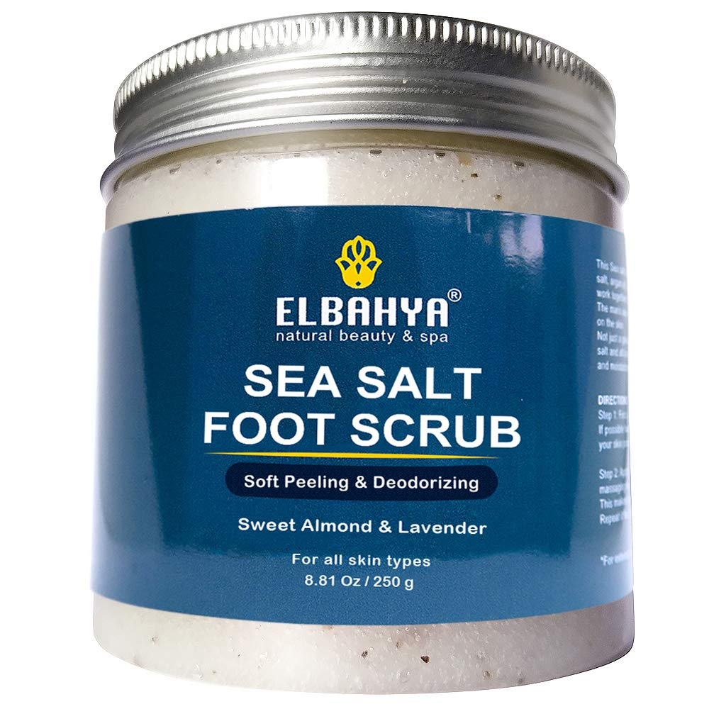 Natural Sea Salt Foot Scrub & Deodorizer, Perfect Care for Dry Cracked Feet and Heels, Made with Natural Ingredients - 8.81 Ounce by Elbahya