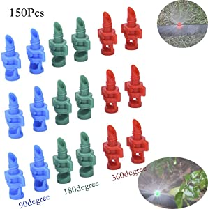 Pannow 150 Pcs Micro Garden Lawn Water Spray, Misting Nozzle Sprinkler Irrigation System (90 Degree,180 Degree,360 Degree)