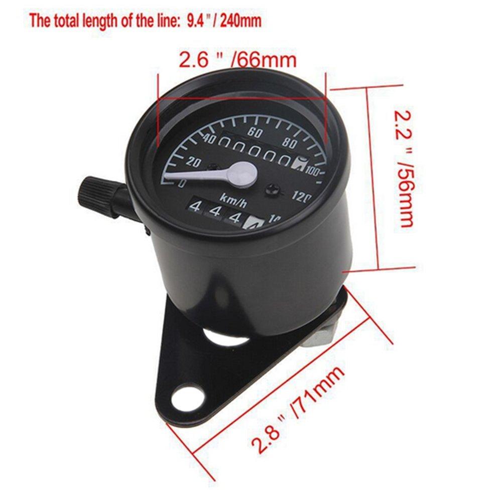 DLLL Black 0-140 KM//H Universal Fit All Motorcycle Dual Odometer Speedometer Gauge Speed Meter Backlight Night Light ATV Honda Yamaha Suzuki Harley Kawasaki Cruisers Harley