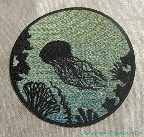 Embroidered Jellyfish Ocean Silhouette Blue Ombre Circle Patch Iron On Sew USA