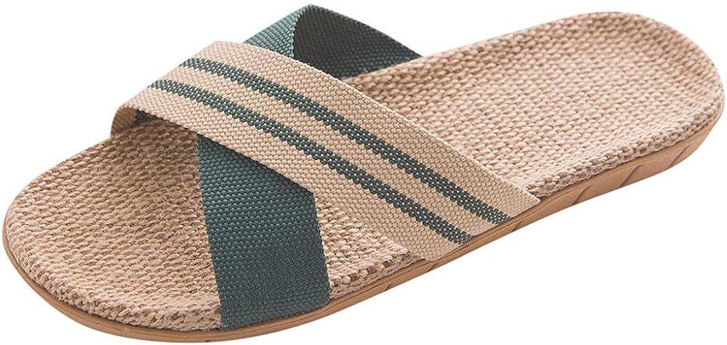 Herren Damen Sommer Streifen Zehentrenner Hausschuhe Strand Sandalen Rutschfeste