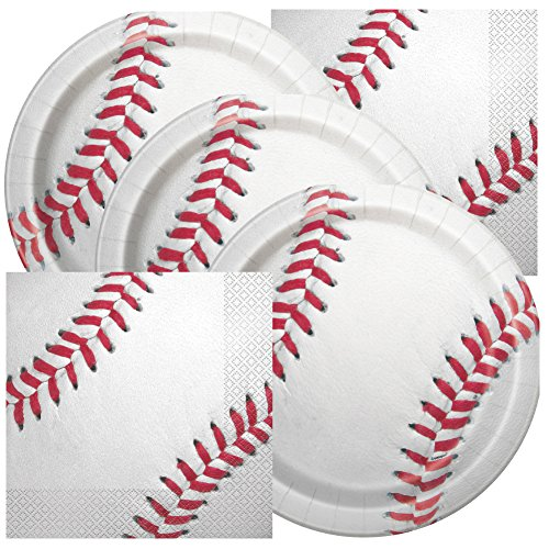 JJ Collections Baseball Themed Birthday Party Napkins and Plates ()