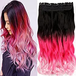 """Neverland Beauty 22"""" One Piece Clip in Triple Ombre Three Tone Synthetic Curly Wavy Hair Extensions Brown Black to Rose Red to Pink"""