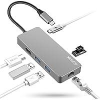 AGPTEK Hub USB C 7 en 1, Aluminio Concentrador Multipuerto USB 3.0 con Tipo C, Puerto RJ45 Gigabit Ethernet, Puerto HDMI, Lector de Tarjetas SD/TF, 2* USB 3.0, para MacBook, MacBook Pro, Google Chromebook, Ranura Externa del Cuaderno Plateado
