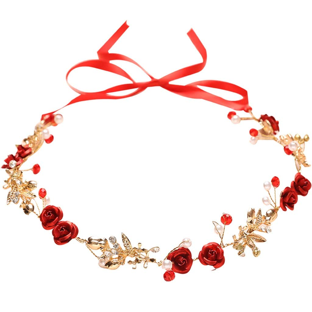 Wreath Flower Bride Headdress Wedding Dress Headband Hair Band Accessories Red (Color : A)