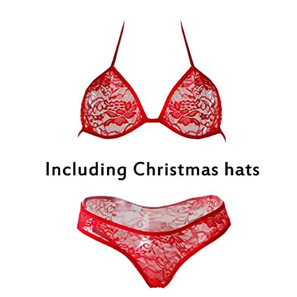 5528c538a3902 Aya1agedei Christmas Sexy Lingerie Set lace Transparent erortic Costumes  Porno Hollow Out Halter Bra Panties hat