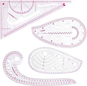French Curve Pattern Ruler Kit for Beginners Tailors Designers 9-Piece Set HLZC Fashion Clear Metric Sewing Ruler Set