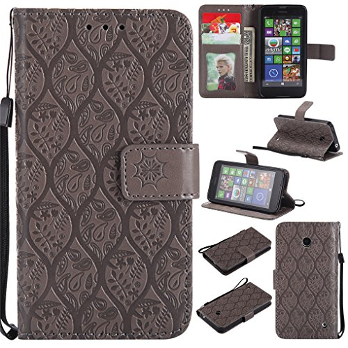 Nokia 635 Case,Lumia 630 Case, LYO [Card Slot] [Stent Function] [Emboss Flower] Luxury PU Leather Wallet Folio Flip Case with Strap for Nokia Lumia 635/630 - 635 Nokia Phone Girls For Cases