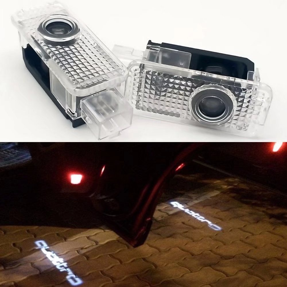 HonsCreat 2X Cree LED aser quattro Logo Door Step Courtesy Light Welcome Light Laser Shadow Logo Projector Lamp For Audi A1 A3 A4 A5 A6 A7 A8 Q3 Q5 Q7 R8 TT RS5 RS7 S3 S5 S6 S7 S8