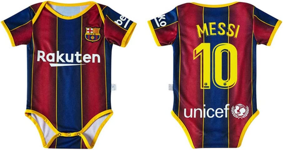 PAOFU-Camiseta de Fútbol para Barcelona Lionel Messi # 10 De Body de Bebé Fanáticos,Baby Boy Girl Body Onesies