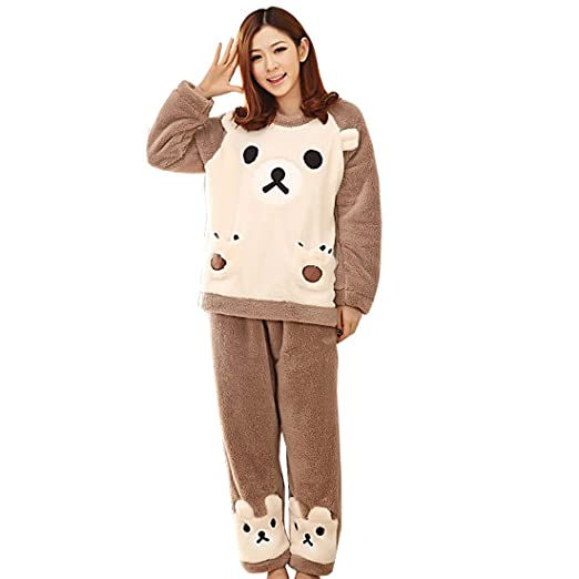 New Women Winter Coral Fleece Pajama Sets Animal Long Sleeve Sleepwear  Nightwear d48d74c40