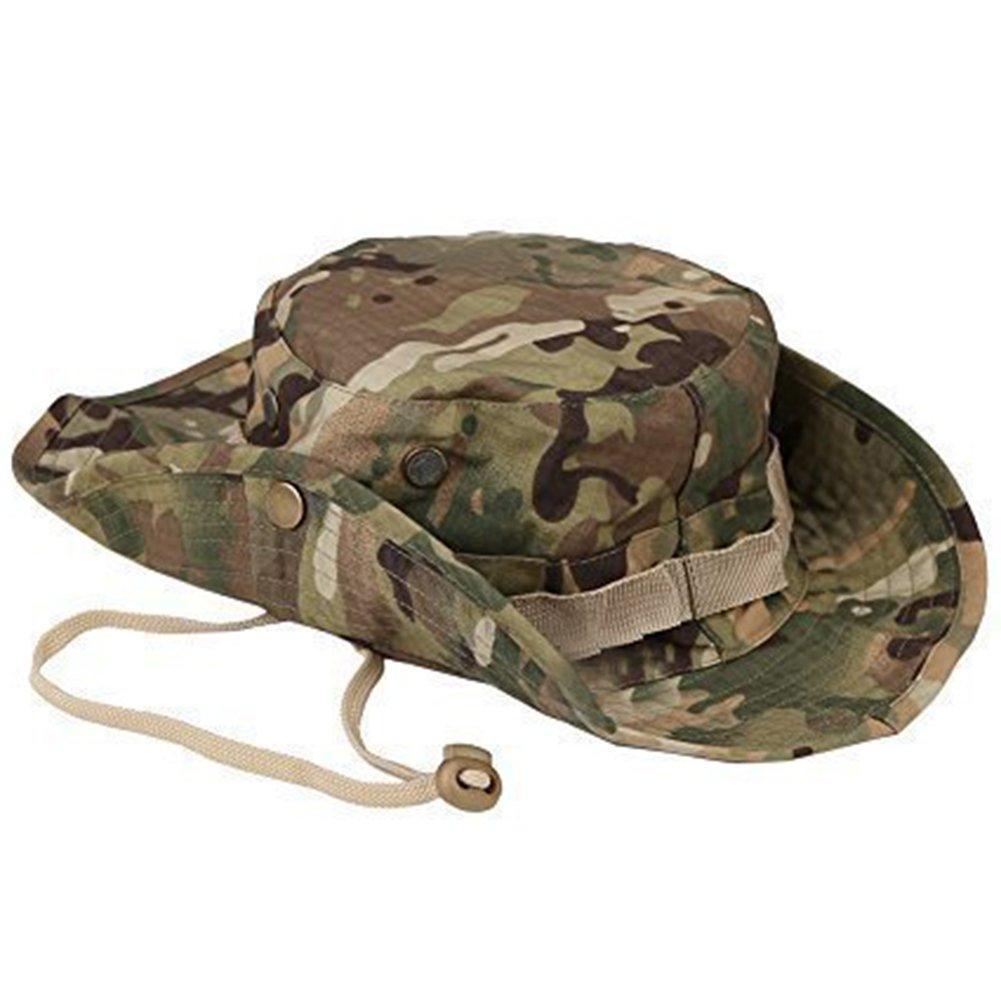 Qingsun Camouflage Hut Boonie Hat Runder Hut Fischerhut Sonnenschutz Anti-UV Draussen für Männer und Frauen Angeln Sonnenschutz Freizeitklettern S160427QG4WQ11