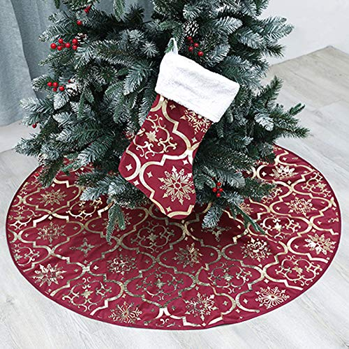 wlflash Christmas Tree Skirt 48 inches Snowy Pattern Xmas Tree Skirt for Christmas Tree Decorations Indoor Outdoor (Wine red) (And Silver Xmas Tree Red)