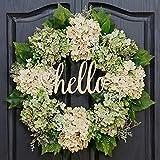 QUNWREATH Handmade Floral 18 inch Green Hydrangea Series Wreath,Gifts Package,Spring Wreath,Wreath for Front Door,Rustic Wreath,Farmhouse Wreath,Grapevine Wreath,Light up Wreath,Everyday Wreath,QUNW60