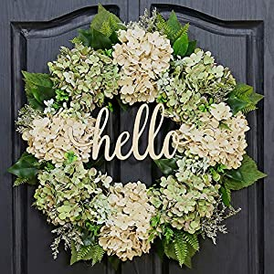 QUNWREATH Spring Wreath for Front Door Wreath 18 Inch Green Hydrangea Wreath Summer Wreath Handmade Hello Wreath Farmhouse Wreath Grapevine Wreath