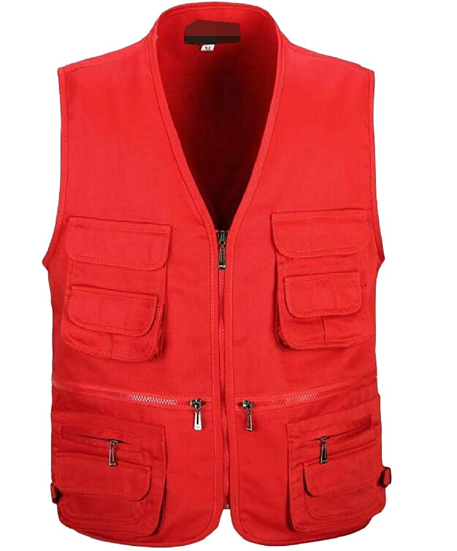 Etecredpow Men Outdoor Multi-Pockets Sleeveless Journalist Zipper Front Vest