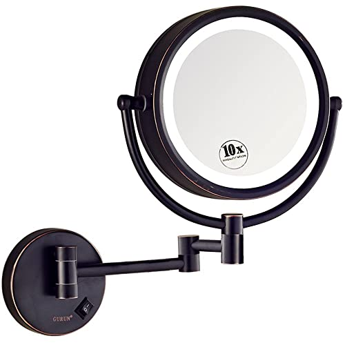 GURUN LED Lighted Wall Mount Makeup Mirror with 10x Magnification,Oil-Rubbed Bronze Finish, 8.5 Inch, Brass,M1809DO 8.5in,10x
